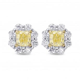 Light Yellow Radiant Diamond Halo Earrings, SKU 278460 (2.32Ct TW)