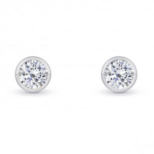Round Bezel-set Diamond Earrings, SKU 27858R (0.50Ct TW)