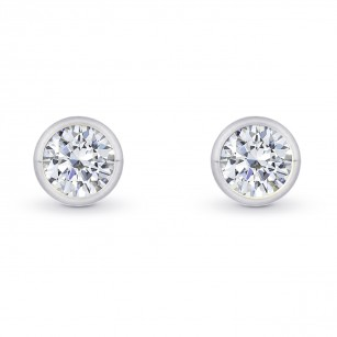 GIA, Round Bezel-set Diamond Earrings, SKU 27861R (1.00Ct TW)
