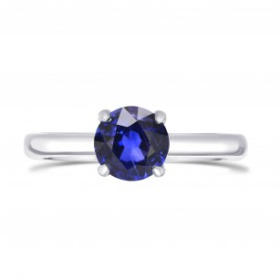 Vivid Blue Round Sapphire Solitaire Ring, SKU 27873R (0.65Ct)