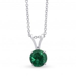 Vivid Green Round Emerald Solitaire Pendant, 商品编号 27876R (0.40克拉)