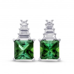Green Tourmaline and Diamond Drop Earrings, SKU 279611 (5.13Ct TW)