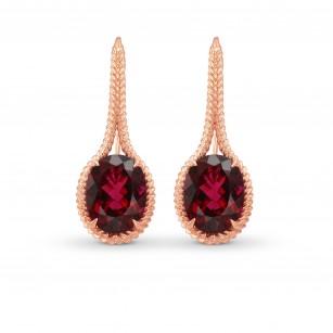 Rose Gold Oval Rubellite Drop Earrings, SKU 280331 (6.54Ct TW)