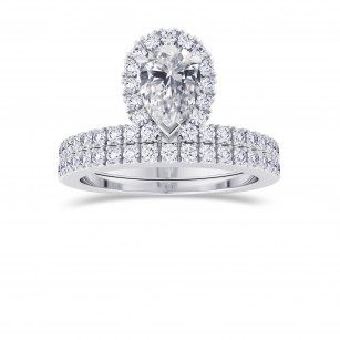 Pear Shaped Halo Diamond Engagement Ring & Wedding Band Set , SKU 28088R (1.20Ct TW)