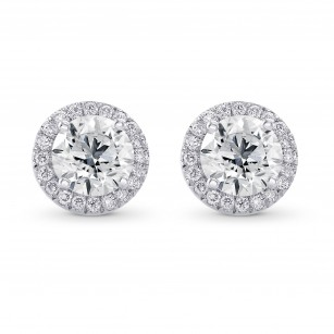 Round Brilliant GIA Diamond Halo Earrings, SKU 28091R (1.55Ct TW)