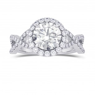 GIA Round Diamond Cross-over Halo Ring, SKU 28100R (1.95Ct TW)
