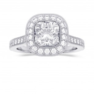 GIA Cushion Vintage Style Milgrain Halo Diamond Ring, SKU 28105R (1.30Ct TW)