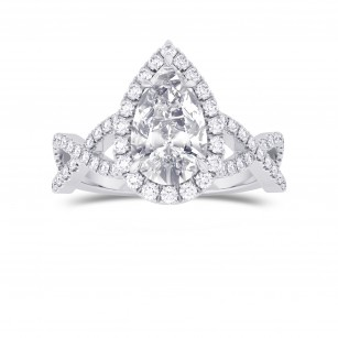 Pear Shape GIA Diamond Cross-over Halo Ring, SKU 28111R (1.95Ct TW)