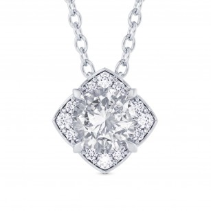 Round Brilliant Diamond Halo Pendant, SKU 28114R (0.82Ct TW)