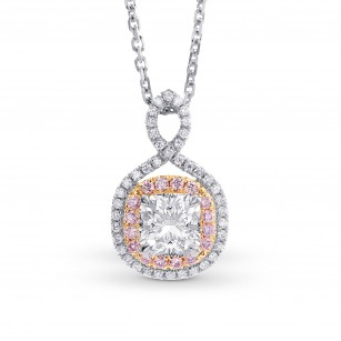 Cross-over Cushion Diamond Double Halo Pendant, SKU 28117R (0.94Ct TW)