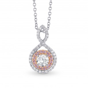 Cross-over Colorless Round Brilliant Diamond Double Halo Pendant, SKU 28118R (0.67Ct TW)