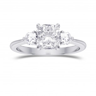 GIA  Colorless Cushion 3 Stone Diamond Ring, SKU 28125R (1.90Ct TW)