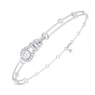 Round Brilliant Open Pave  Diamond Bracelet, SKU 28126R (1.37Ct TW)