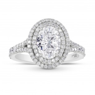 GIA Oval Diamond Double Halo Ring, SKU 28128R (2.10Ct TW)