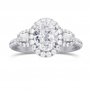 1.00ct, GIA  Oval Halo & Taper Diamond Ring, SKU 28150R (1.50Ct TW)