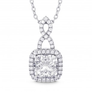 1.50ct  GIA Cushion Diamond Halo & Drop Pendant, SKU 28159R (1.68Ct TW)