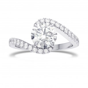 1.00ct Round Brilliant Diamond Cross-over Side-stone Diamond Ring, SKU 28164R (1.28Ct TW)