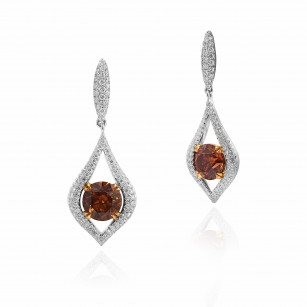 Fancy Dark Orange Brown Drop Diamond Earrings, SKU 28180V (5.05Ct TW)