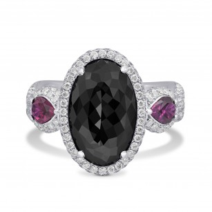 Fancy Black Oval Diamond and Ruby Ring, SKU 28186V (6.21Ct TW)