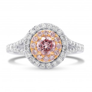 Fancy Pink Round Diamond Halo Ring, SKU 282317 (1.36Ct TW)
