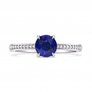 Round Sapphire Beaded Solitaire Ring, 商品编号 282359 (0.93克拉)