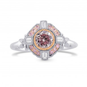 Fancy Intense Purplish Pink Round Diamond Engagement Ring, SKU 282524 (0.79Ct TW)