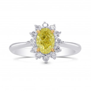 Fancy Yellow Oval Diamond Floral Halo Ring, SKU 283090 (1.31Ct TW)