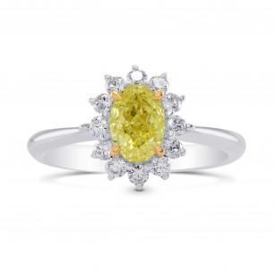 Fancy Yellow Oval Diamond Floral Halo Ring, 商品编号 283090 (1.31克拉)