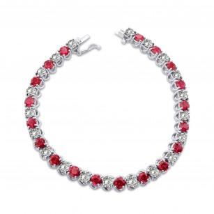 Diamond & Ruby Tennis Bracelet, SKU 28346R (10.93Ct TW)