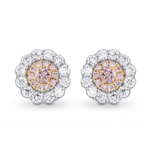 Fancy Pink & White Diamond Pave Flower Earrings, SKU 284270 (0.68Ct TW)