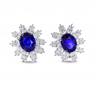 Burma No Heat Sapphire & Diamond Earrings In Platinum, SKU 28451V (24.63Ct TW)