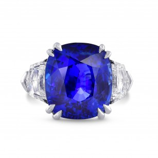 Sri-Lanka No Heat Royal Blue Sapphire & Diamond Ring In Platinum, SKU 28453V (19.42Ct TW)