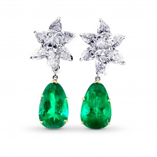 Colombian Emerald & Diamonds Drop Earrings, SKU 28454V (22.92Ct TW)