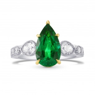 Zambian Emerald Pear & Diamond Ring, SKU 285143 (3.54Ct TW)