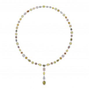 Extraordinary GIA Certified Multicolored Diamond Necklace, SKU 28576V
