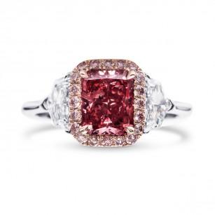 Extraordinary Fancy Purplish Red Diamond Halo Side Stone Ring, SKU 28587V (2.24Ct TW)