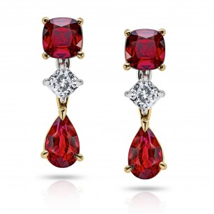 Pear shape and Cushion Cut Ruby Drop Earrings, SKU 28642V (2.41Ct TW)