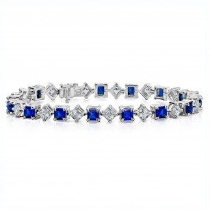 Blue Sapphire and Diamond Platinum Bracelet, SKU 28643V (14.00Ct TW)