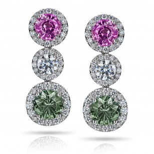 Green and Pink Sapphire Diamond Drop Earrings, SKU 28663V (5.93Ct TW)