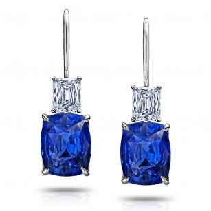 Blue Cushion Sapphire and Diamond Drop Earrings, SKU 28666V (7.86Ct TW)
