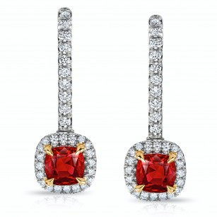 Ruby and Diamond Halo Drop Earrings, SKU 28669V (1.28Ct TW)