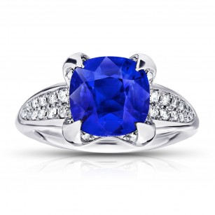 3.21 Carat Cushion Blue Sapphire And Diamond Ring, SKU 28670V (3.51Ct TW)