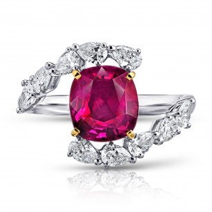 3.36 Carat Cushion Red Ruby and Diamond Ring, SKU 28672V (4.34Ct TW)