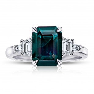 3.82 Carat Emerald Cut Green Sapphire And Diamond Ring, SKU 28673V (4.50Ct TW)