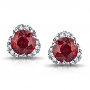 2.46 Carat Round Ruby and Diamond Halo Platinum Earrings, SKU 28678V (2.68Ct TW)