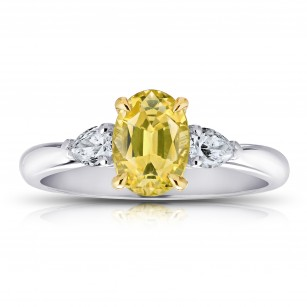 1.66 Carat Oval Yellow Sapphire And Diamond Ring, SKU 28705V (1.98Ct TW)