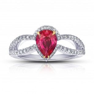 1.42 Carat Pear Shape Ruby and Diamond Platinum Ring, SKU 28706V (1.87Ct TW)