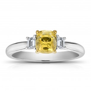 1.11 Carat Cushion Yellow Sapphire and Diamond Ring, SKU 28707V (1.37Ct TW)