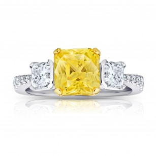 3.15 Carat Yellow Sapphire and Diamond Ring, SKU 28708V (4.30Ct TW)