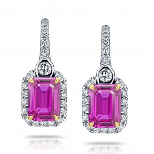 2.76 Carat Pink Sapphire and Diamond Halo Drop Earrings, SKU 28709V (3.15Ct TW)